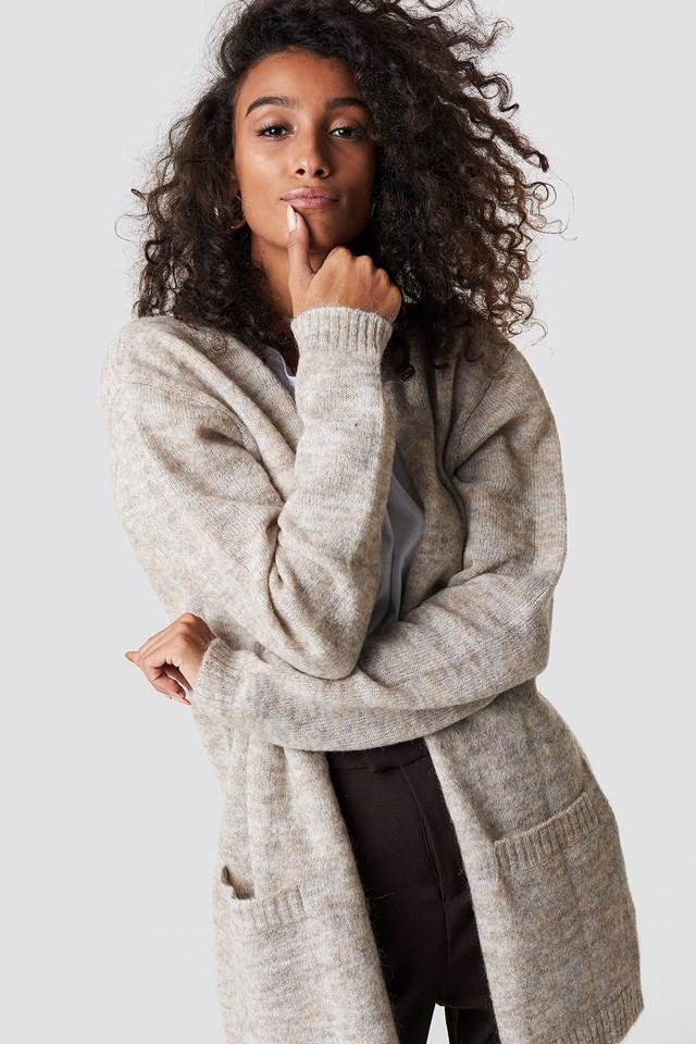 Wool Blend Cardigan Beige