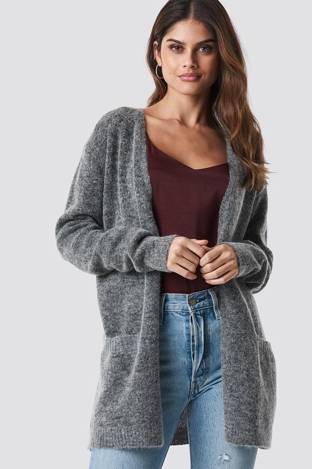 Wool Blend Cardigan Grey