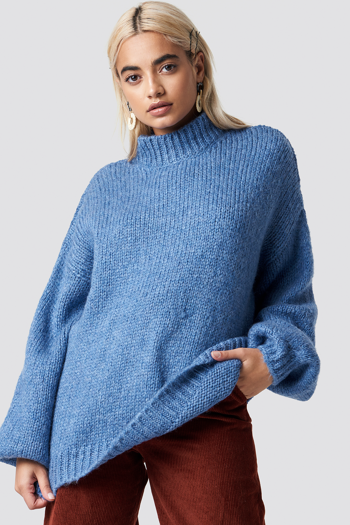 na-kd trend -  Wool Blend High Neck Knitted Sweater - Blue