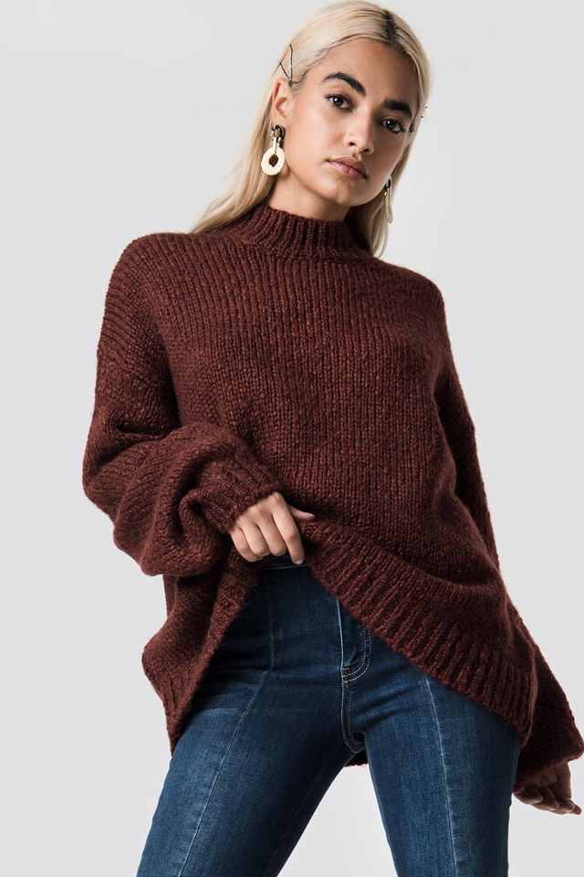 Wool Blend High Neck Knitted Sweater Red