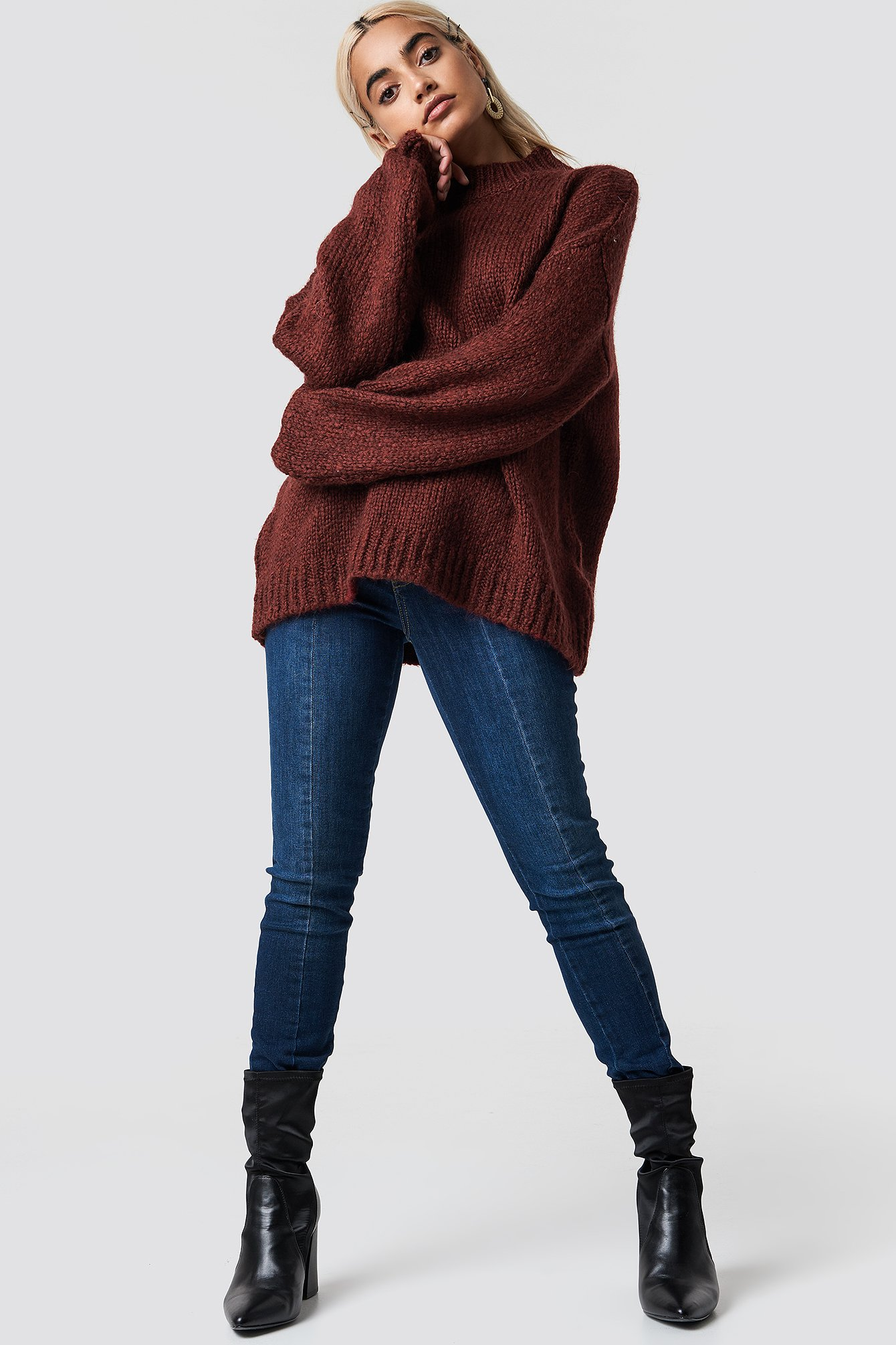 Wool Blend High Neck Knitted Sweater NA-KD.COM