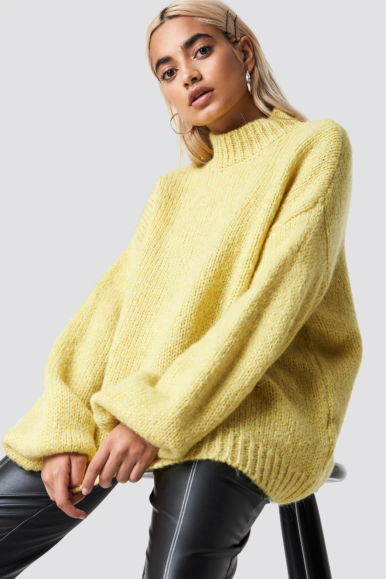 na-kd trend -  Wool Blend High Neck Knitted Sweater - Yellow