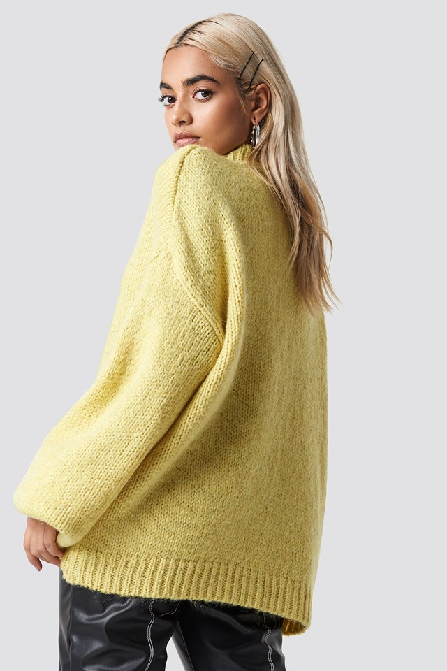 Wool Blend High Neck Knitted Sweater Yellow