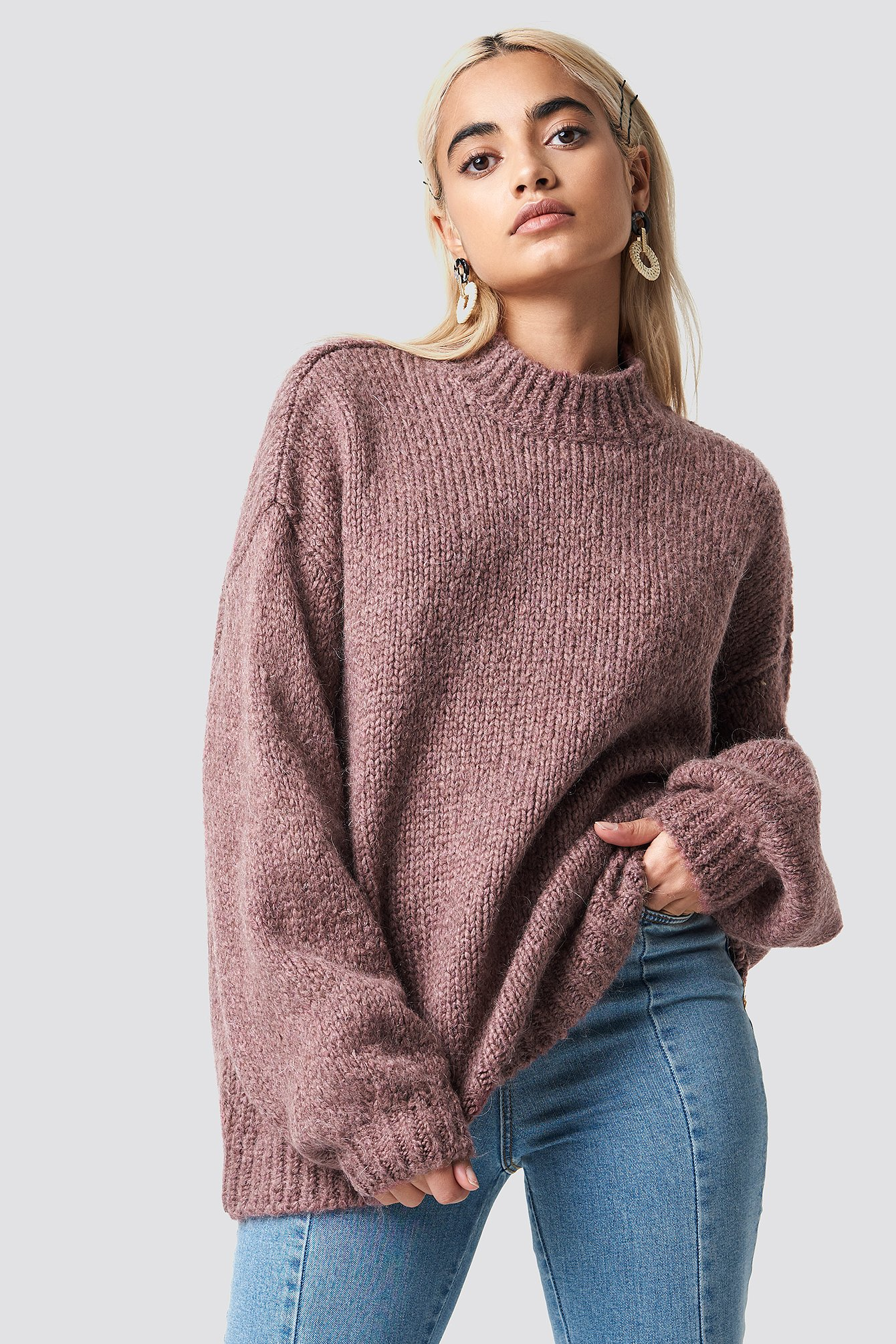 na-kd trend -  Wool Blend High Neck Knitted Sweater - Pink
