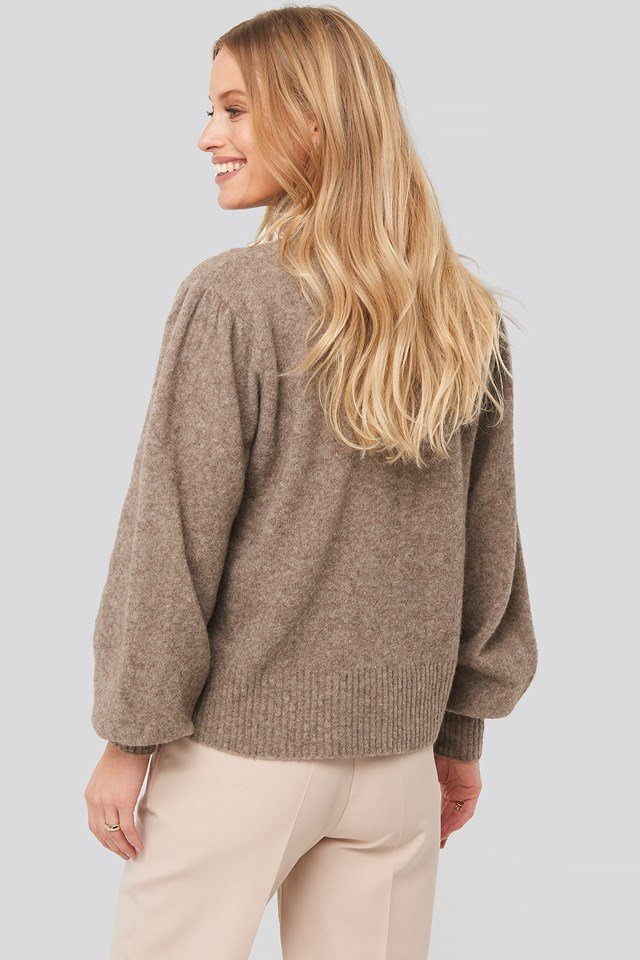 Wool Blend Knitted Polo Neck Sweater Brown