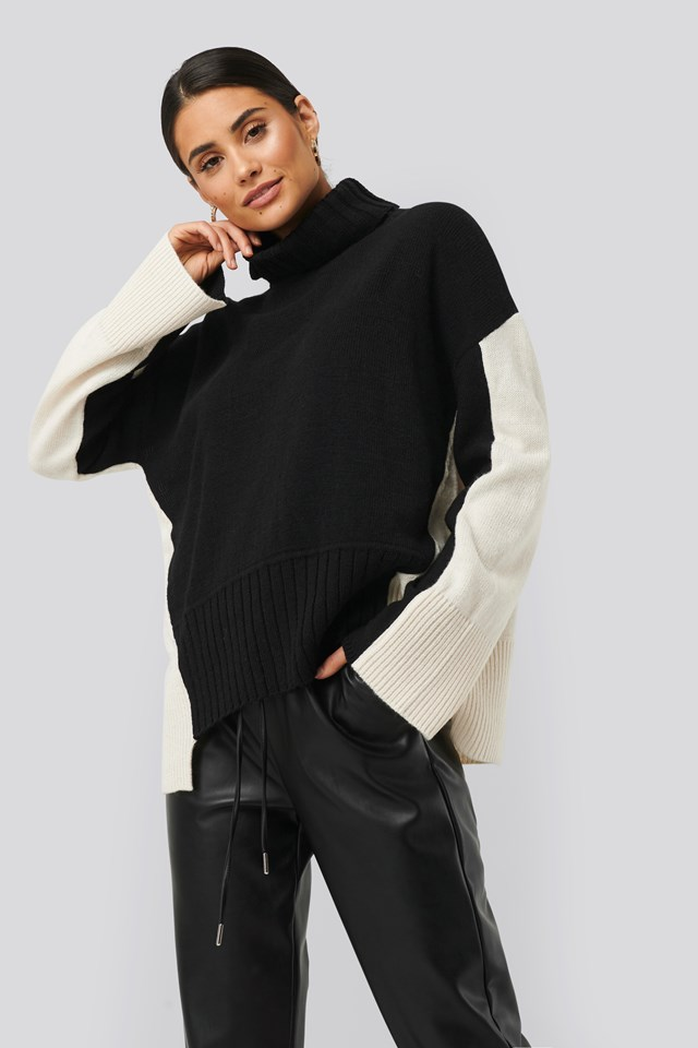 Wool Blend Oversized Colour Block Sweater White/Black