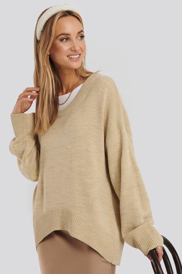 Wool Blend Oversized Wide Neck Sweater Beige