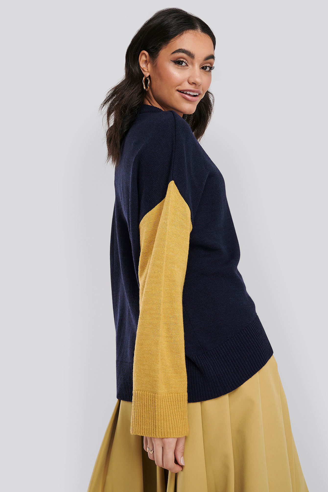 Navy Wool Blend Oversized Wide Neck Sweater