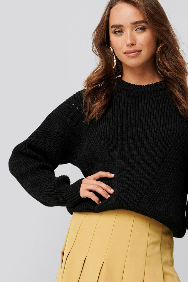 Wool Blend Pointelle Stitch Sweater Black