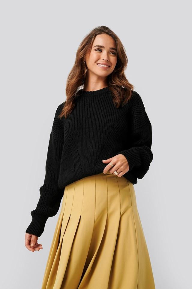 Wool Blend Pointelle Stitch Sweater Black