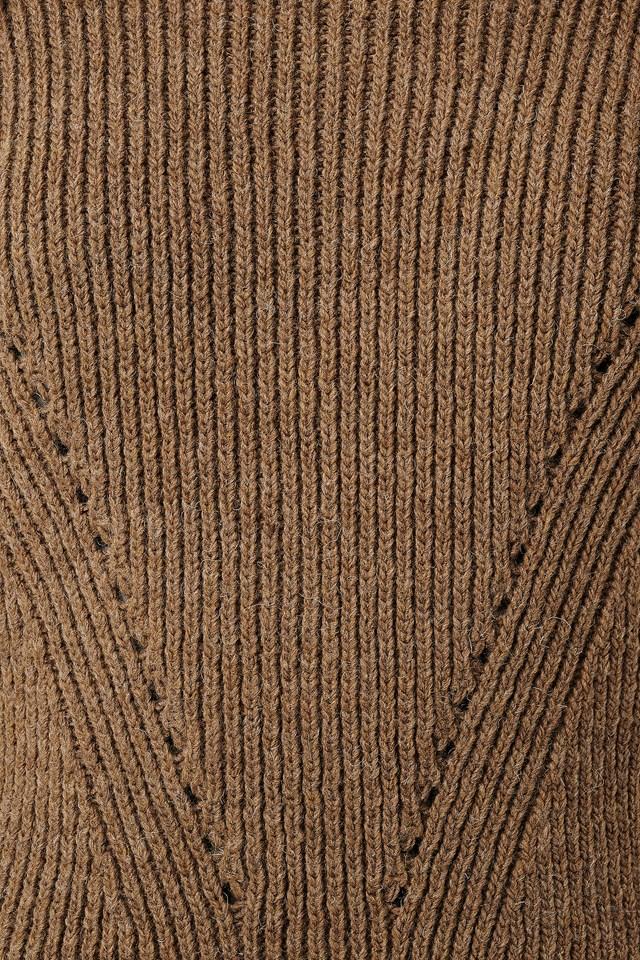 Wool Blend Pointelle Stitch Sweater Brown