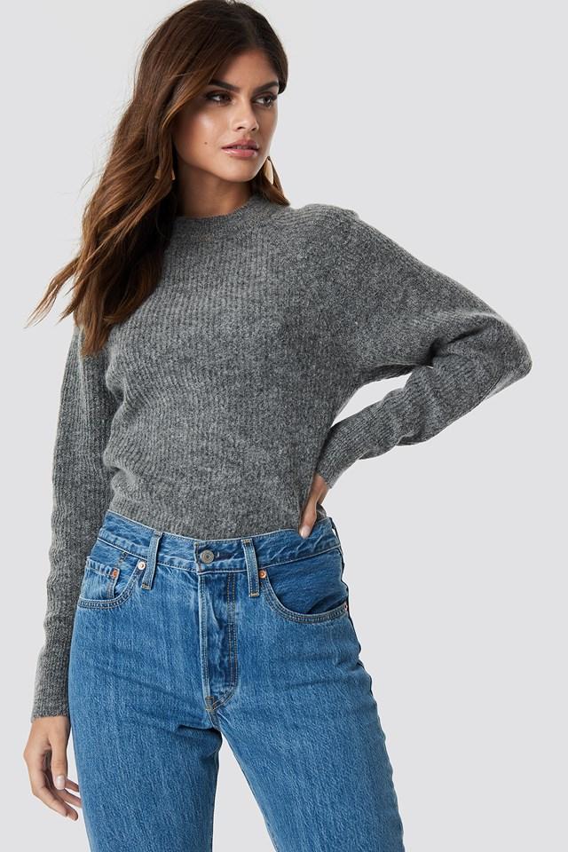 Wool Blend Raglan Sleeve Sweater Grey