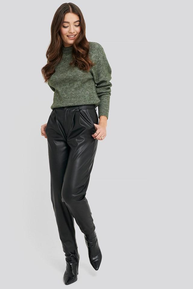 Wool Blend Raglan Sleeve Sweater Dark Green