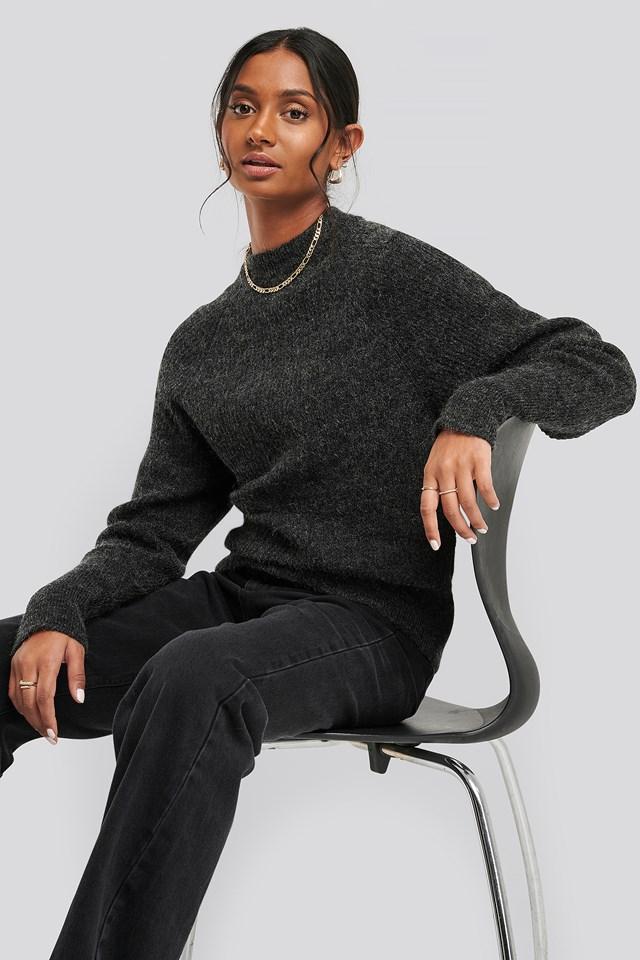 Wool Blend Raglan Sleeve Sweater Dark Grey