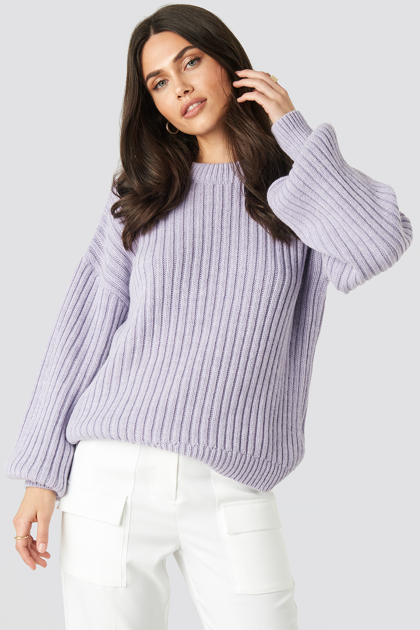 na-kd -  Wool Blend Ribbed Knitted Sweater - Purple