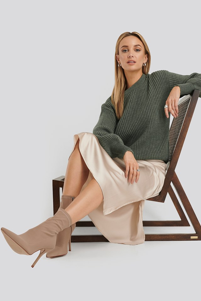 Wool Blend Ribbed Knitted Sweater Khaki