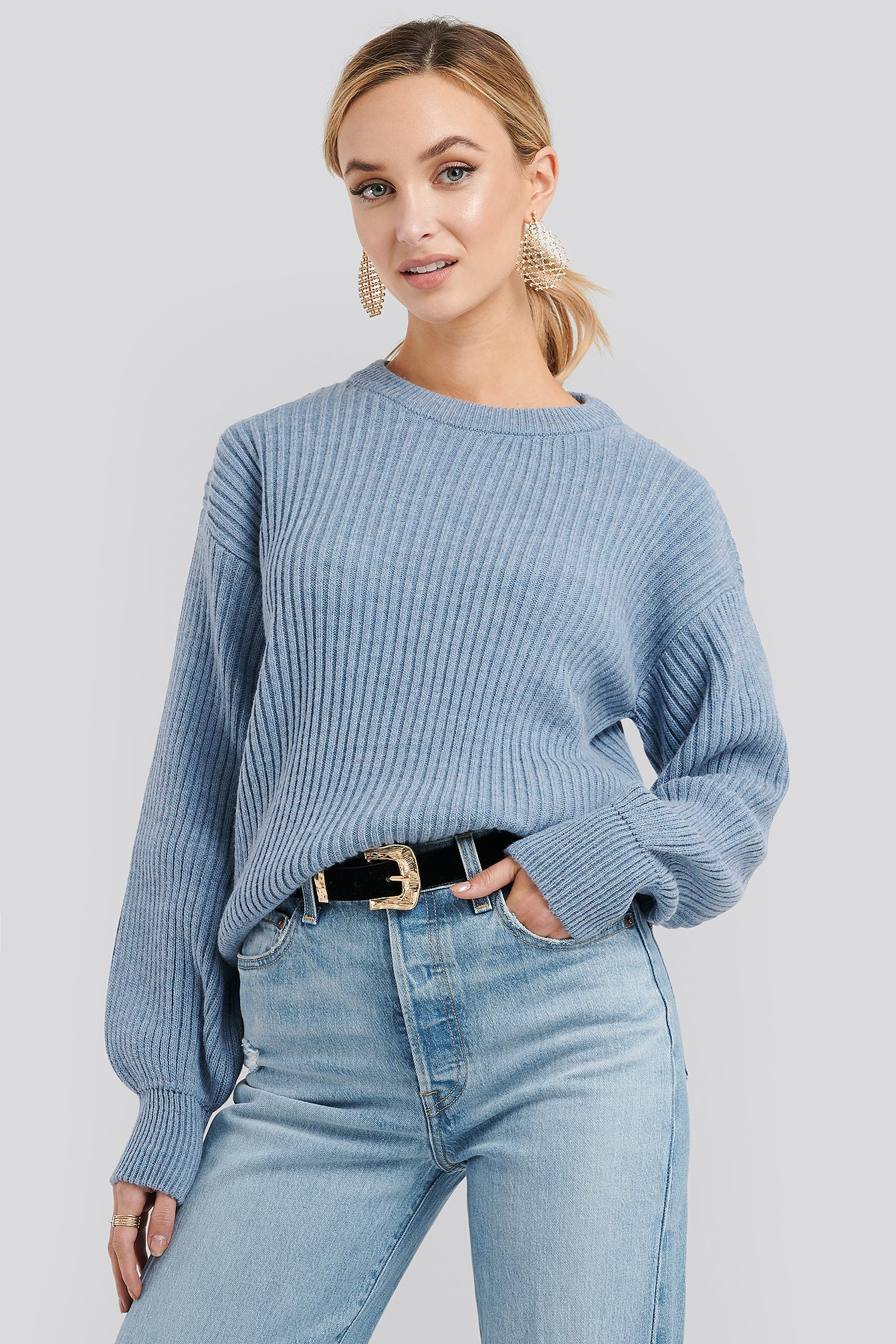 Dusty Blue Wool Blend Ribbed Knitted Sweater