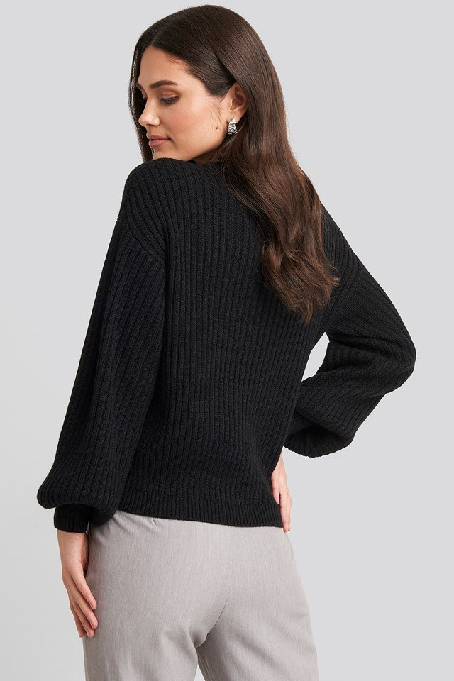 Wool Blend Ribbed Knitted Sweater Black
