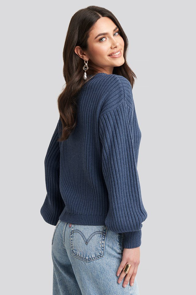 Wool Blend Ribbed Knitted Sweater Blue