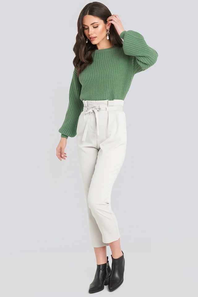 Wool Blend Ribbed Knitted Sweater Green