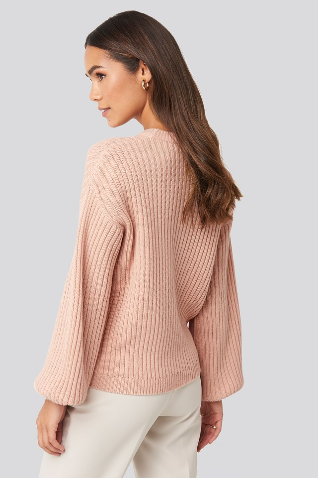 Wool Blend Ribbed Knitted Sweater Light Pink