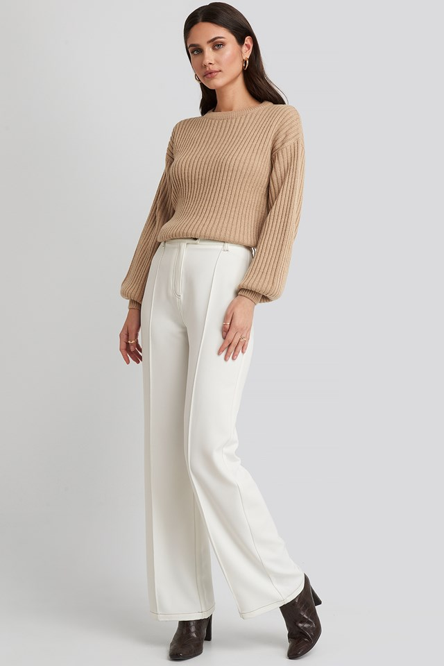 Wool Blend Ribbed Knitted Sweater Light Beige