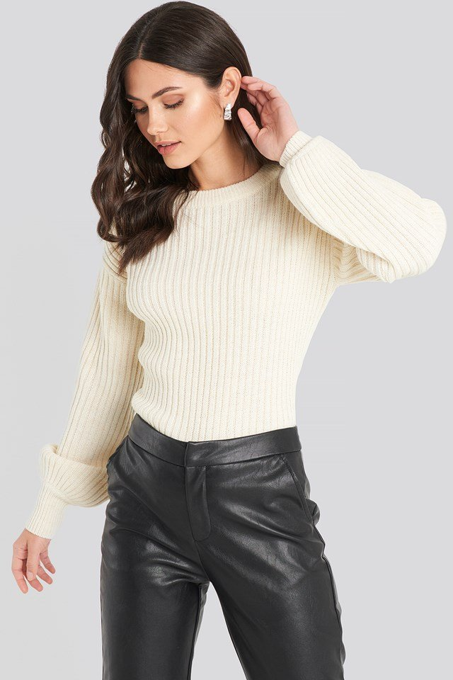 Wool Blend Ribbed Knitted Sweater Offwhite