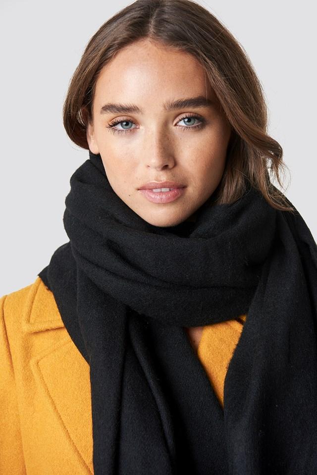 Wool Blend Scarf Black