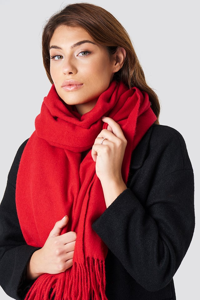 Wool Blend Scarf Red