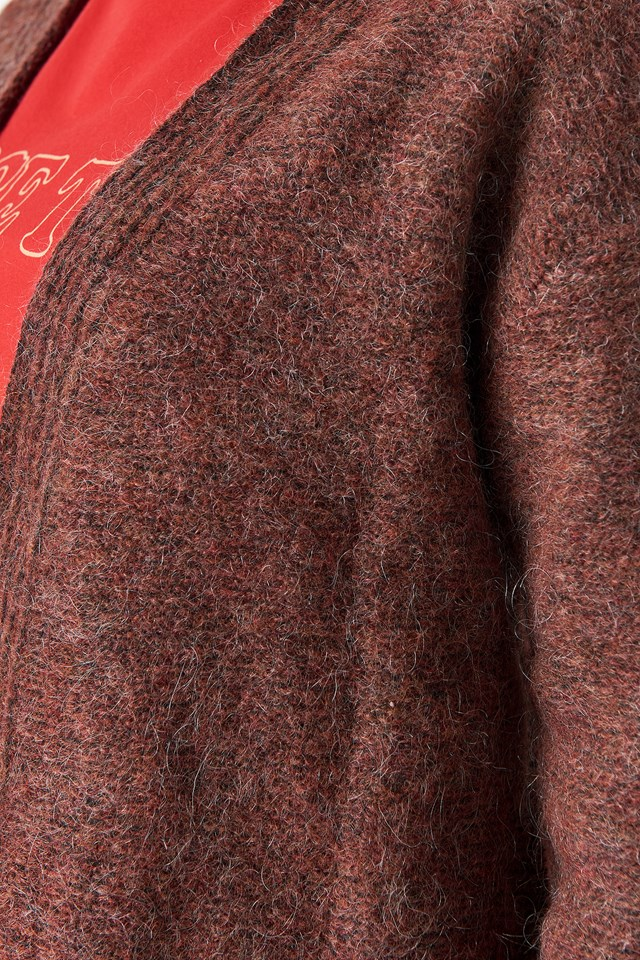 Wool Blend Short Cardigan Red