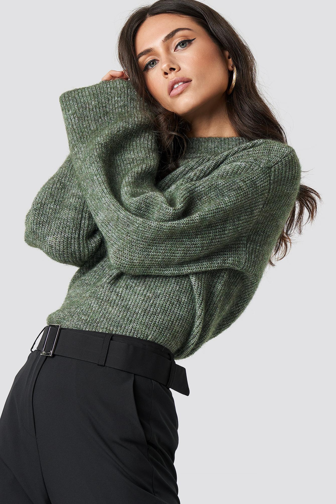 Blend Wide Sleeve GreenNa Wool Sweater Yb7fgv6y