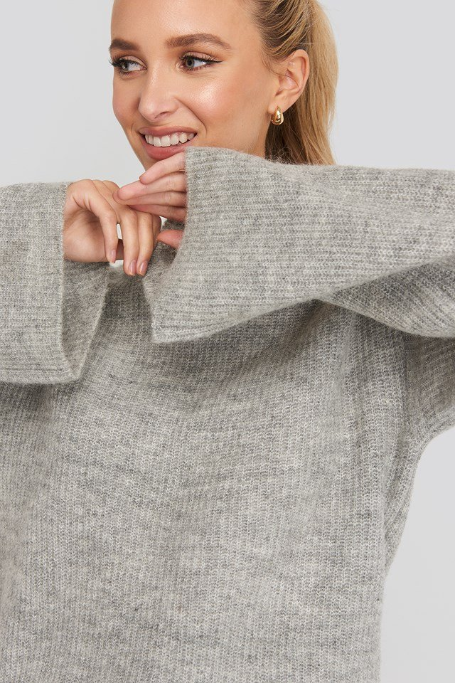 Wool Blend Wide Sleeve Sweater NA-KD Trend
