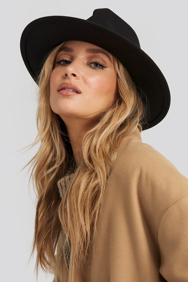 Woolen Fedora Hat Black