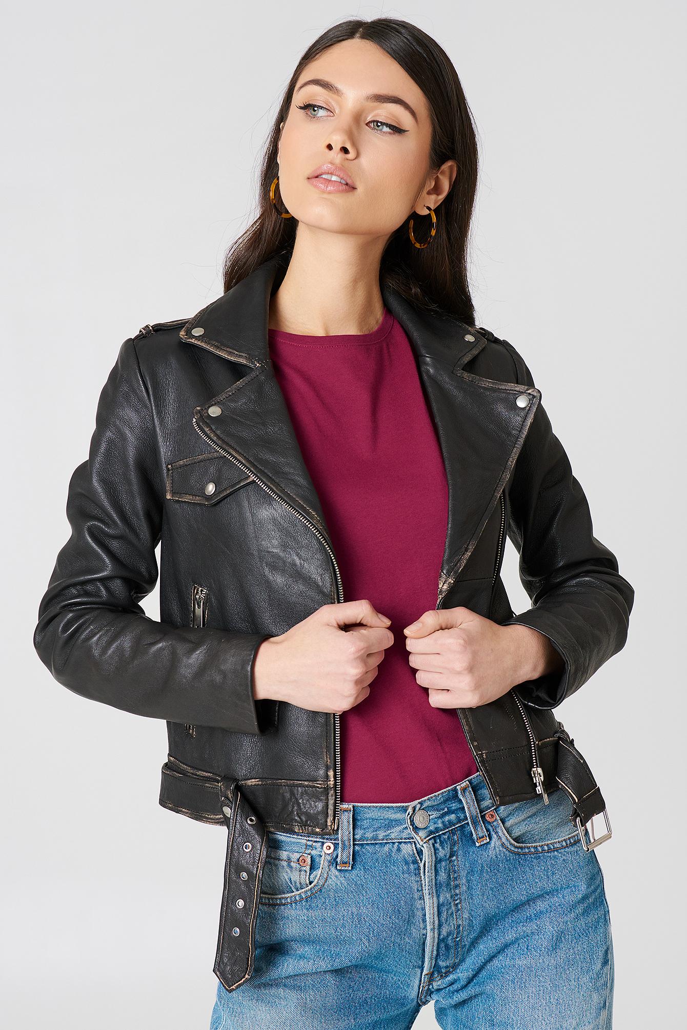 na-kd exclusive -  Worn Look Leather Jacket - Black