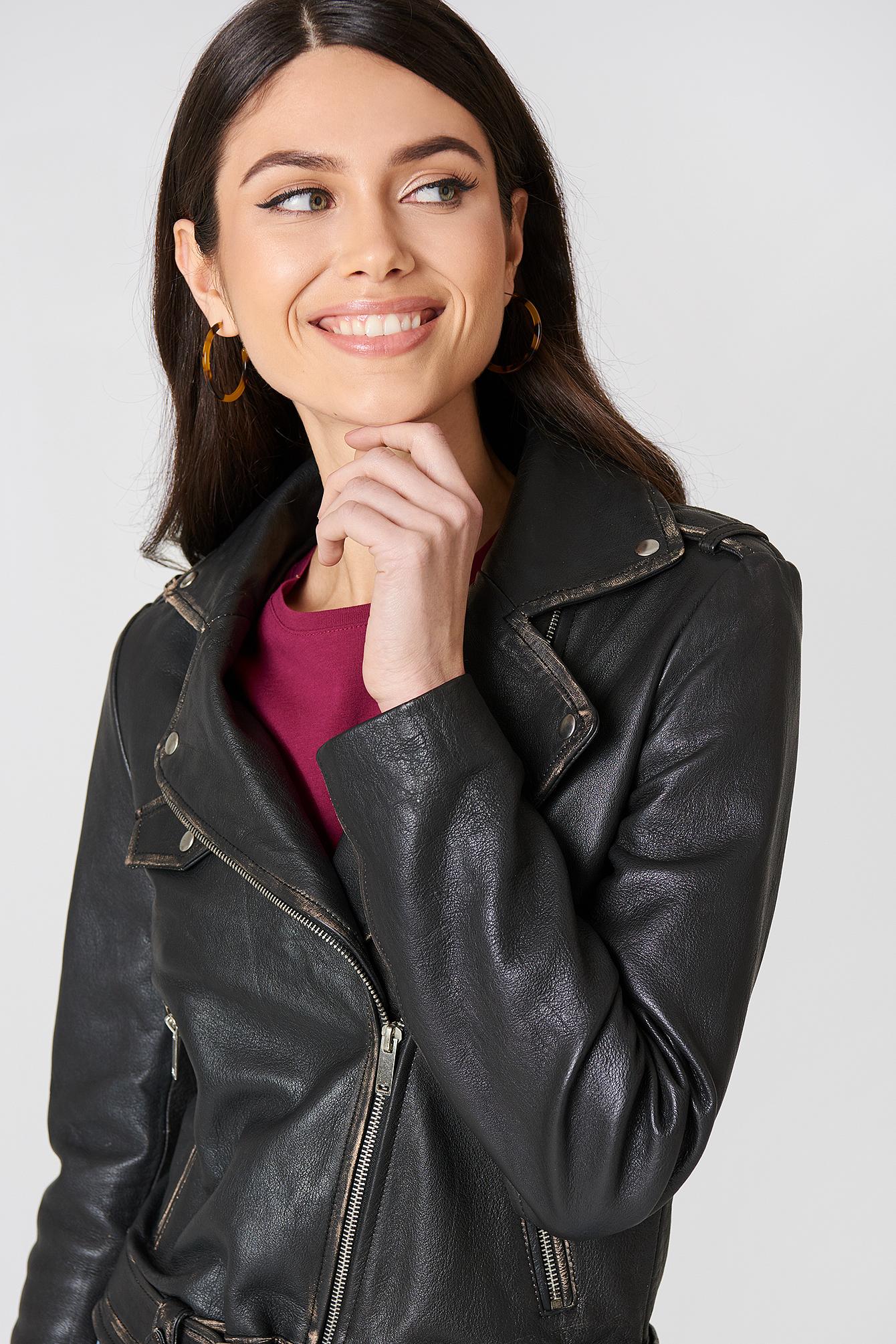Worn Look Leather Jacket NA-KD.COM