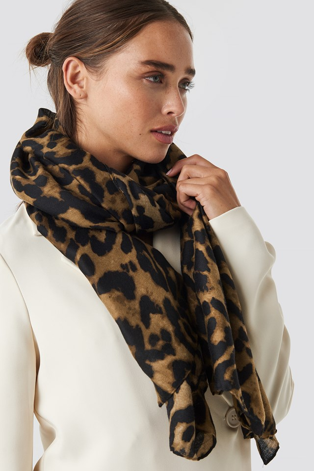 Woven Leopard Print Scarf Leoprint