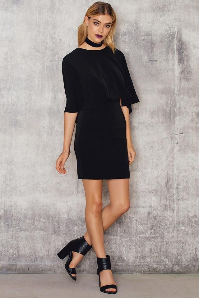 Woven Flowy Back Sleeve Dress Black