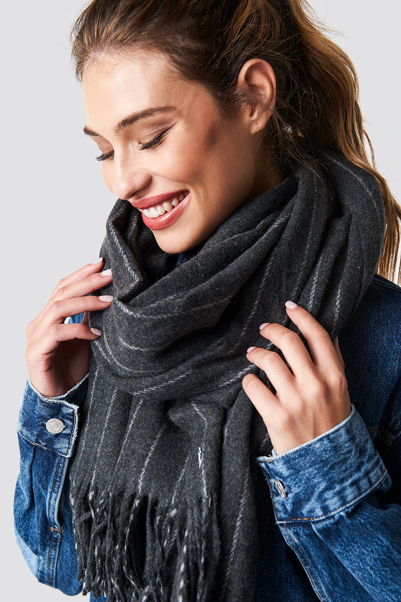 na-kd accessories -  Woven Pinstripe Scarf - Grey