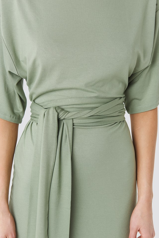 Wrap Detail Jersey Dress Khaki