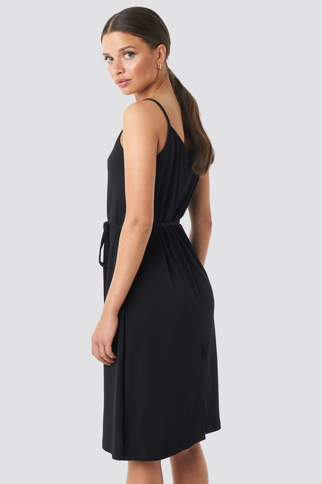 Wrap Detail Strap Dress Black