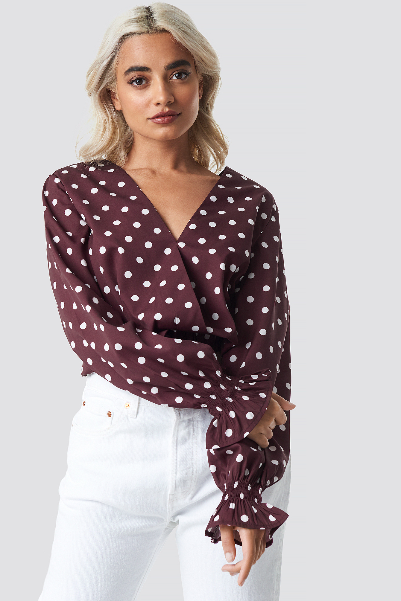Burgundy/White dots Wrap Dotted Blouse