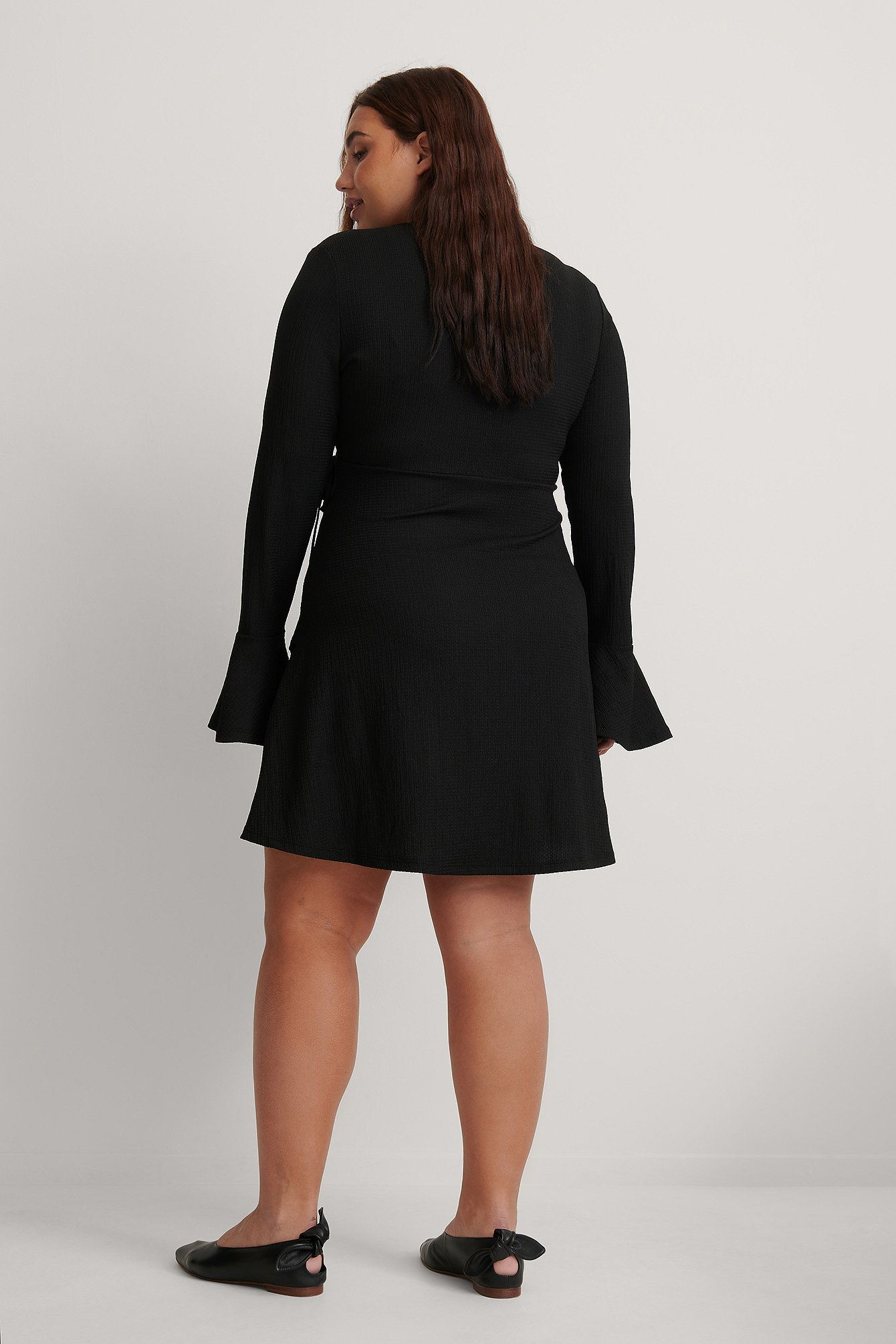Black Wrap Flounce Detail Dress