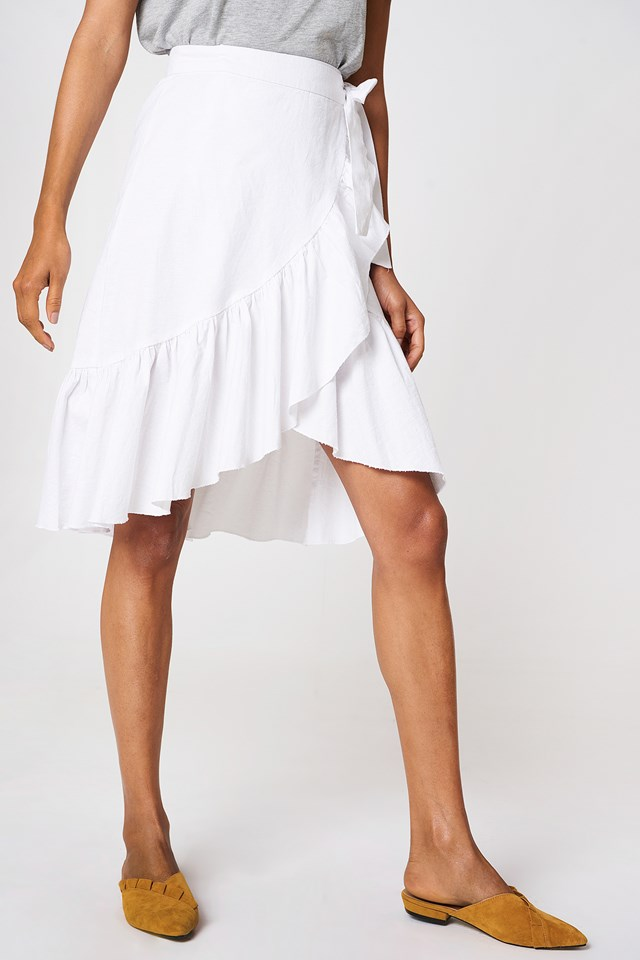 Wrap Over Flounce Linen Look Skirt White