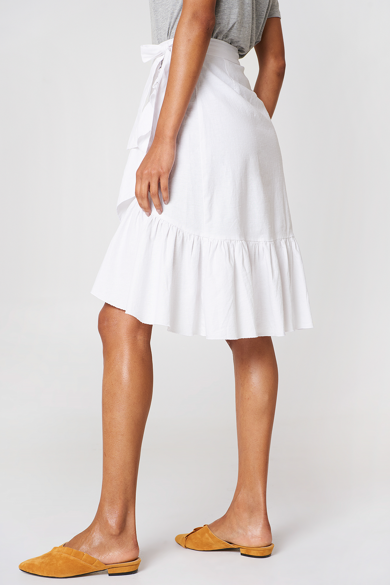 Wrap Over Flounce Linen Look Skirt NA-KD.COM