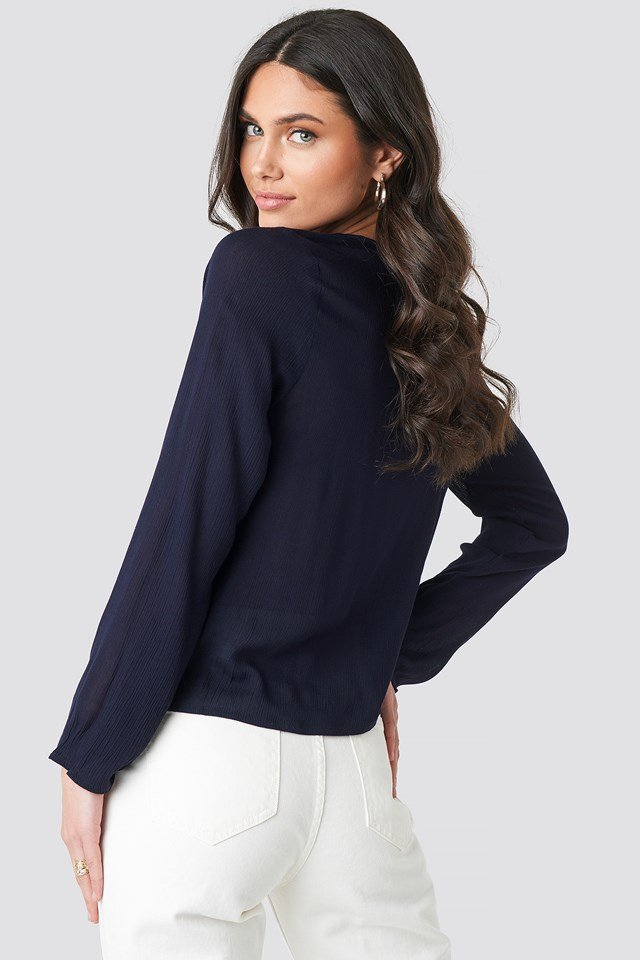 Wrap Front Blouse Midnight Blue