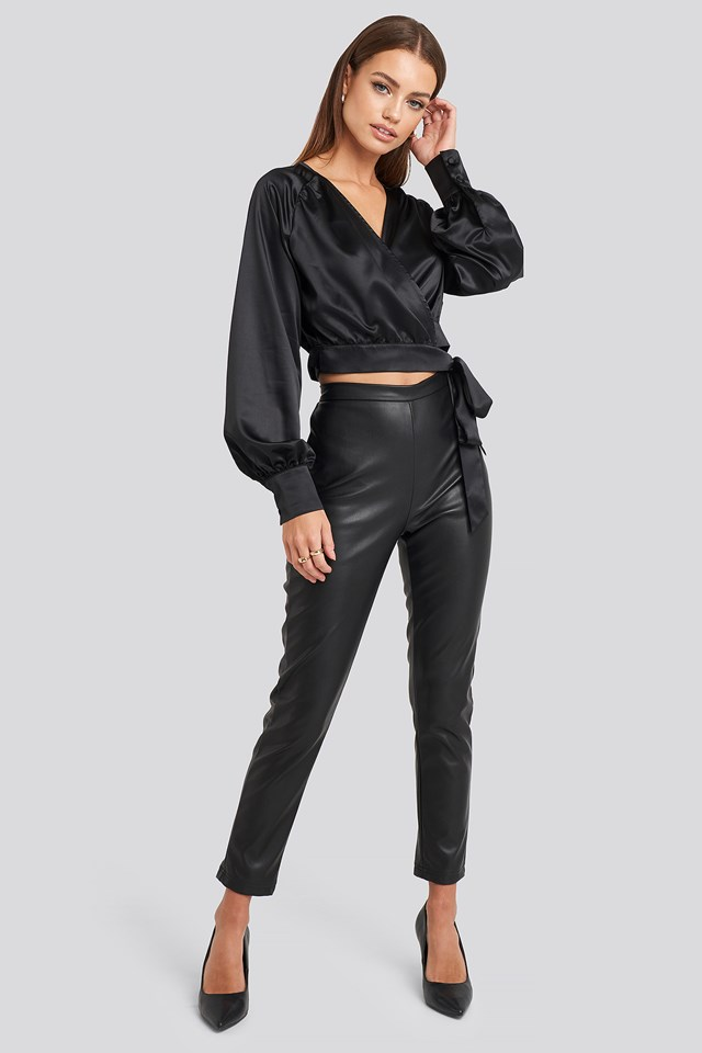 Wrap Front Cropped Blouse Black
