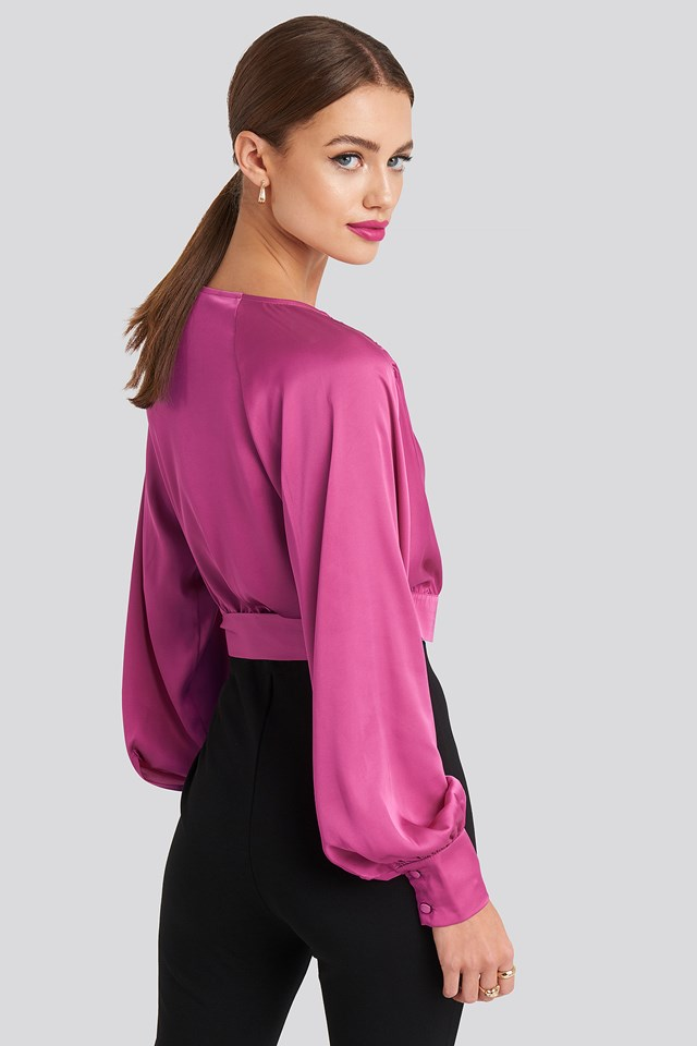 Wrap Front Cropped Blouse Pink