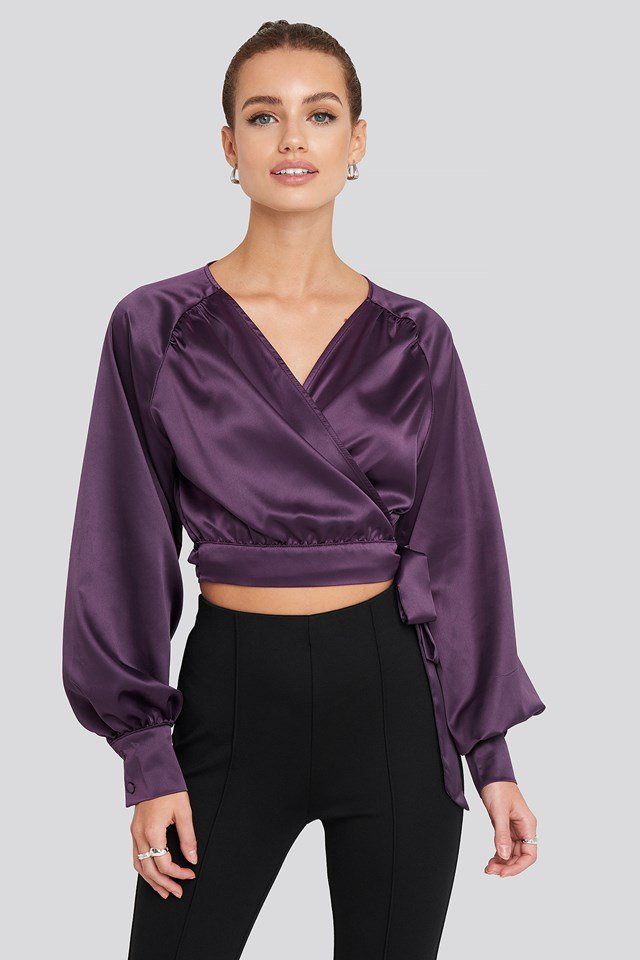 Wrap Front Cropped Blouse Purple