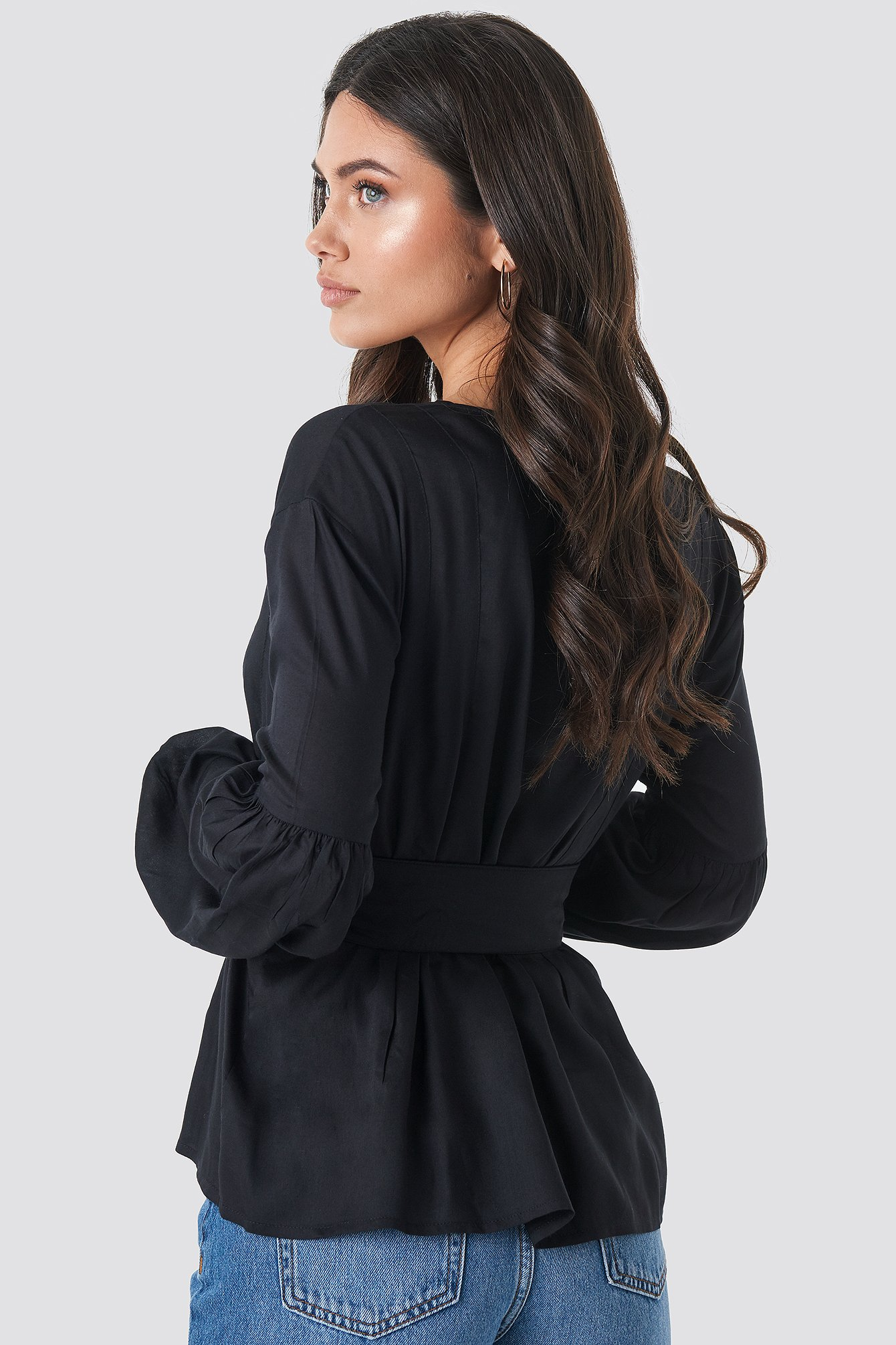 Black Wrap Front Fitted Waist Blouse