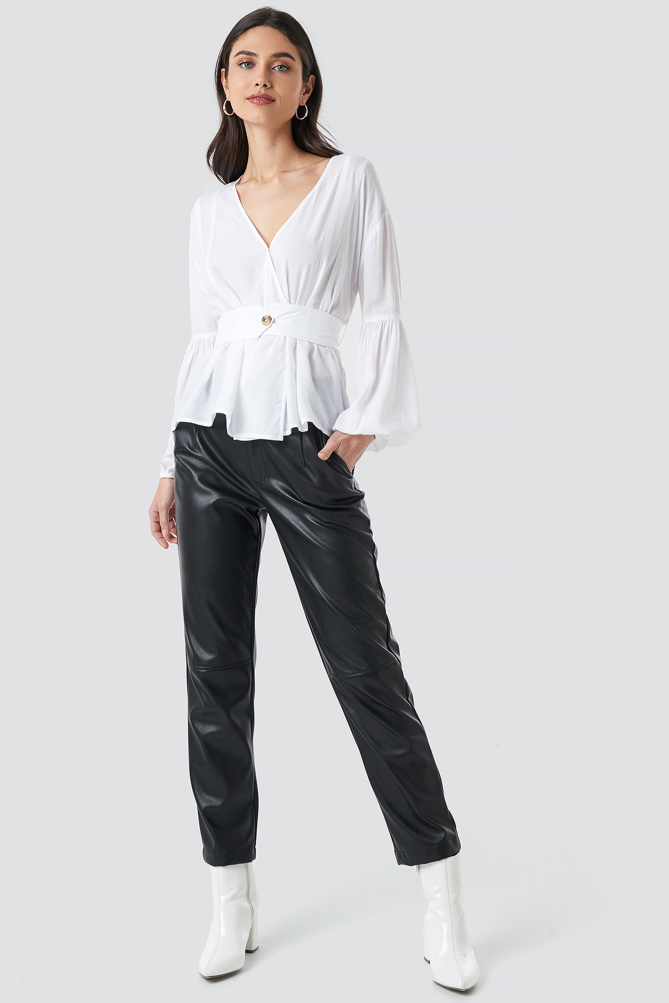 Wrap Front Fitted Waist Blouse NA-KD.COM